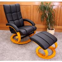 Hvile/lænestol inkl fodskammel – sort kunstlæder