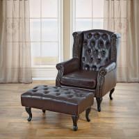 Chesterfield stol inkl fodskammel – brun