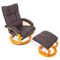 Hvile/lænestol inkl fodskammel – brunt kunstlæder