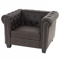 Behagelig chesterfield lounge stol i brunt læder look med firkantede fødder