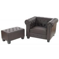 Brun chesterfield lænestol med skammel / ottoman - firkantede ben