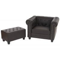 Luksus chesterfield stol i brun med runde fødder og skammel/ottoman