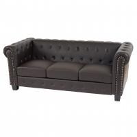 Luksus brun chesterfield sofa med plads til tre