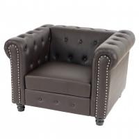 Brun chesterfield lounge stol med runde fødder