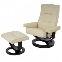 Cremefarvet luksus hvile/lænestol med ø-fod inklusiv skammel