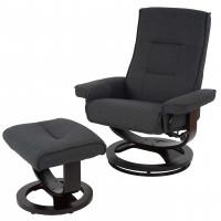 Luksus hvile - lænestol i stof med ø-fod inklusiv skammel