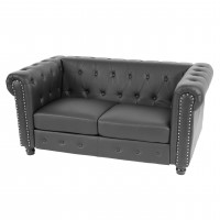 Luksus lounge chesterfield sofa i sort med runde fødder