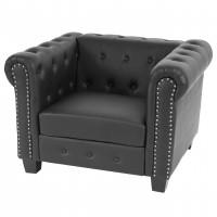 Flot sort chesterfield stol med firkantede fødder