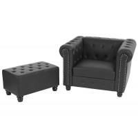 Sort chesterfield lænestol med runde fødder  og skammel / ottoman