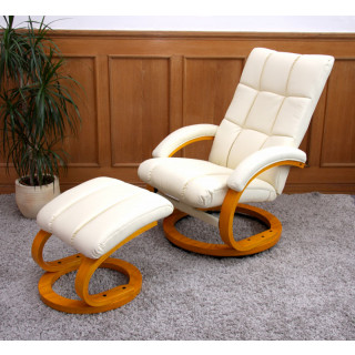 Hvile/lænestol inkl fodskammel – creme farvet kunstlæder