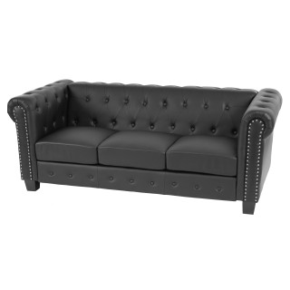 Luksus lounge chesterfield sofa i sort