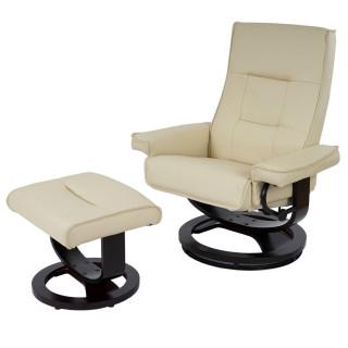 Lounge cremefarvet lænestol med ø-fod inklusiv skammel