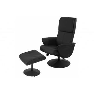 Lænestol med skammel i sort kunstlæder