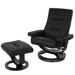 Lænestol i sort læder inklusiv skammel